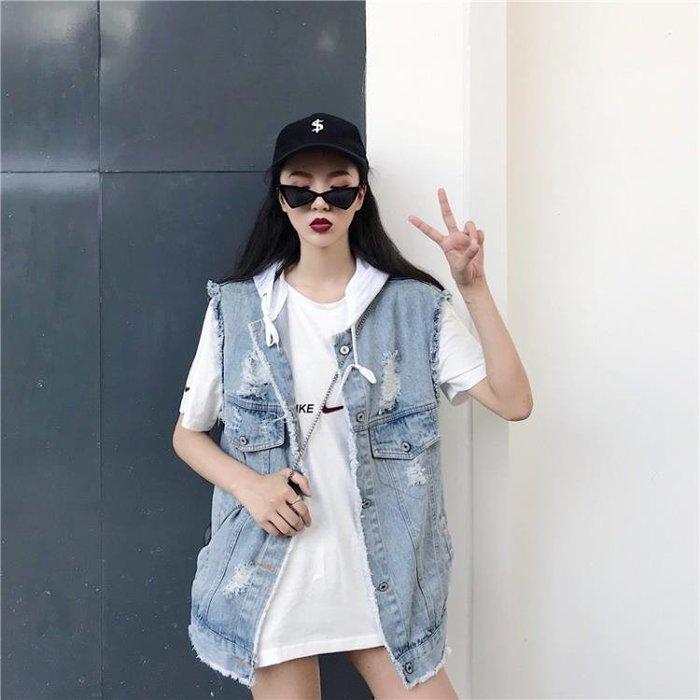 秋季女裝新款韓版連帽牛仔馬甲寬鬆破洞無袖背心上衣外套顯瘦