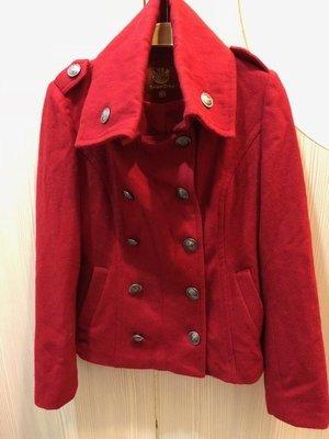 小花別針、專櫃品牌【Knights Bridge】紅色雙排釦學院風外套