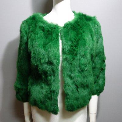 R167 狐狸毛獺兔 女 短款 整皮兔毛兔絨皮草外套大衣 柔軟滑順 現貨