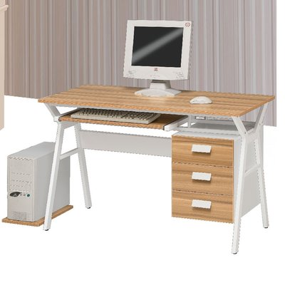 【優比傢俱生活館】19 便宜購-183蘋果木紋白色雙色4尺鍵盤電腦桌/書桌 SH849-2