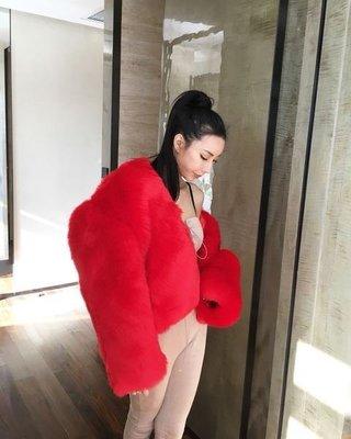 [ ohya梨花 ] =韓國帶回=超級美大紅色聖誕節新年必備毛絨絨皮草人造毛外套連帽短版大衣