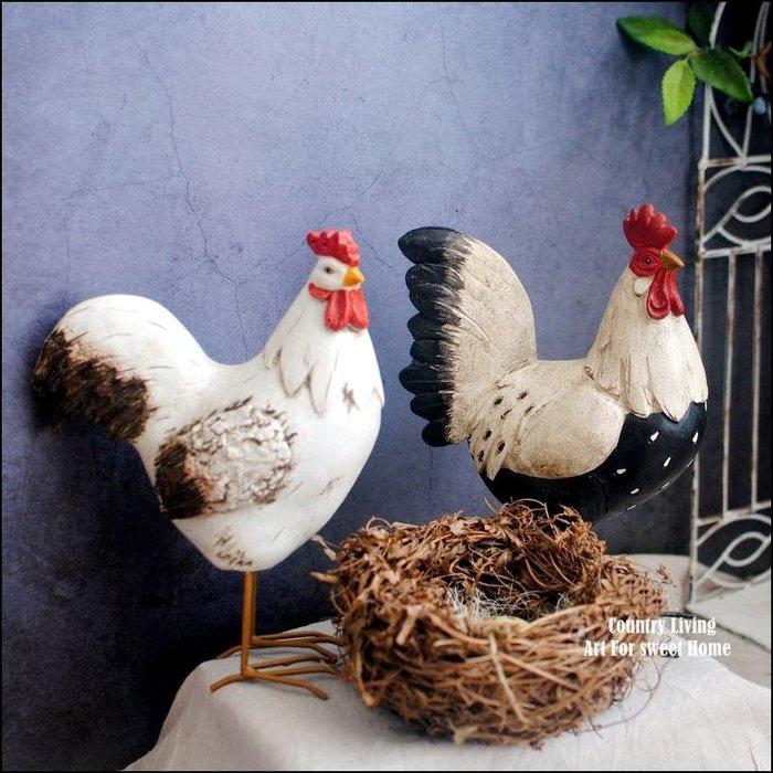 鄉村風 立體鐵腳黑色點點公雞母雞一對對雞擺飾品 手工彩繪可愛起家帶路雞公仔生肖藝品裝飾品祝賀送禮品庭園佈置品【歐舍傢居】