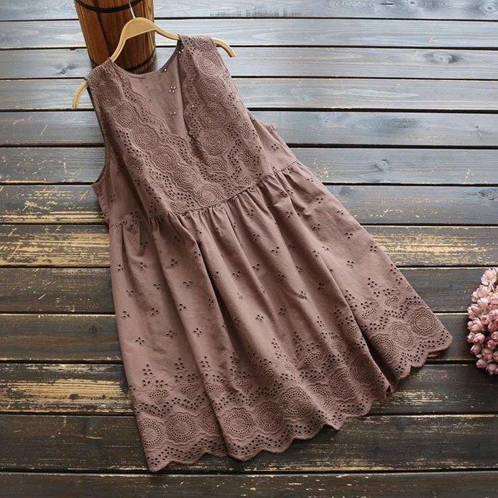 日系寬鬆蕾絲連身裙洋裝長上衣
