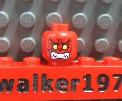 【積木1977-人偶頭】Lego樂高-全新 人頭150 黃眼發怒露齒紅色人頭 台北市