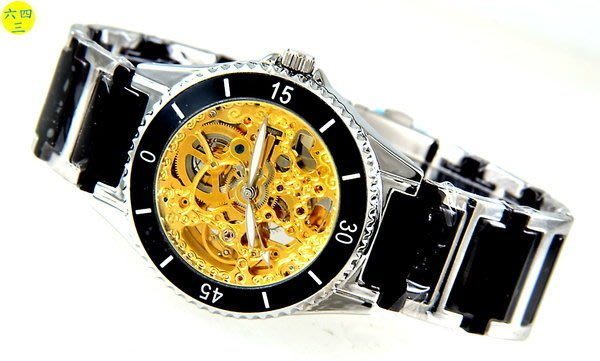 (六四三精品)范倫鐵諾古柏(真品)雙面鏤空.陶瓷錶帶.自動上鍊機械錶!(黑)