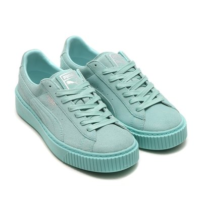 =CodE= PUMA BASKET PLATFORM RESET 珍珠皮革增高厚底鞋(蒂芬妮綠)363313-03.女