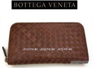 喬瑟芬【BOTTEGA VENETA】清倉~經典*114076 巧克力色 小羊皮 編織拉鍊長夾