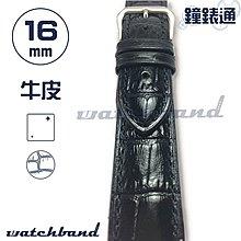 【鐘錶通】C1-10AR《簡約系列》大花鱷魚紋-16mm 曜石黑  /手錶錶帶/大花鱷魚紋/牛皮錶帶/