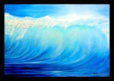 Art city手繪創作抽象油畫~浪潮~126.5X90CM 台灣畫家原創作品 含內框可直接懸掛(實品拍攝)
