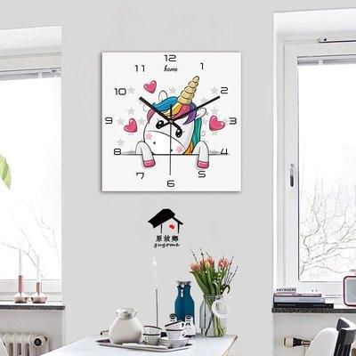 方形北歐田園現代簡約掛鐘掛表客廳餐廳個性創意藝術裝飾掛畫鐘表小豬佩奇