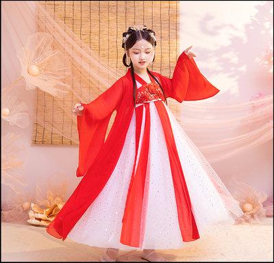~~Miss Goddess~~  女童漢服超仙襦裙兒童古裝長袖秋冬唐裝公主大紅中國風古箏演出服