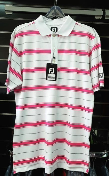 (易達高爾夫) 全新原廠FOOTJOY 21855 #S號 白底粉色條紋 男短袖上衣
