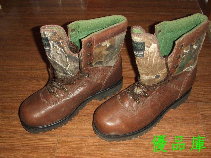 優品庫加厚純牛皮男靴/短靴/外貿超大碼系帶短筒棉靴 棕色 14M  49~50碼