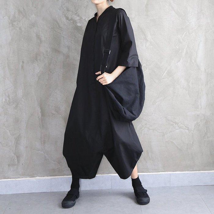 CHIC U  暗黑先鋒超寬鬆連身褲個性工裝九分連體褲女潮顯瘦闊腿個性時尚休閒褲