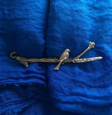 (老銀屋)復古文藝仿古銀作舊金屬樹枝小鳥別針