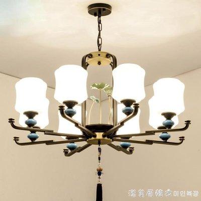 新中式吊燈客廳現代簡約創意臥室中國風古典鐵藝復式別墅酒店燈飾 220vNMS