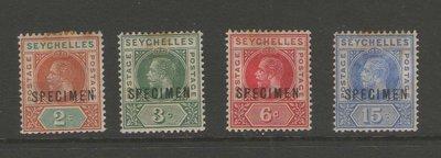 【雲品】塞舌爾Seychelles 1912 SG 71-73,75 SPECIMEN MH 庫號#66860