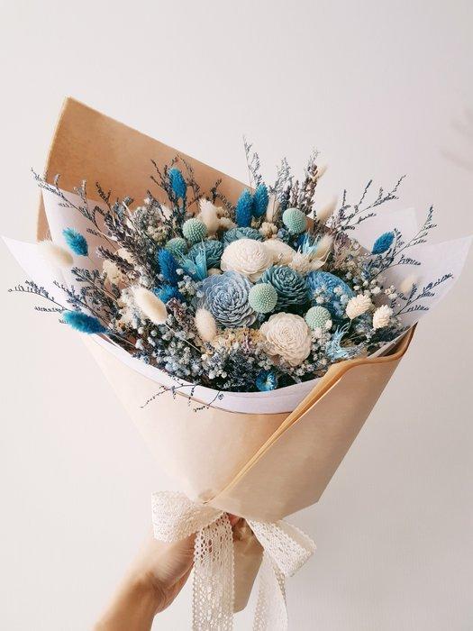 情人節。藍色系不凋花乾燥花束。情人節。台北西門歡迎自取。【Flower&House花藝之家】