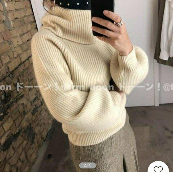大牌同款20秋冬奶油黃色燈籠袖加厚高領羊毛毛衣