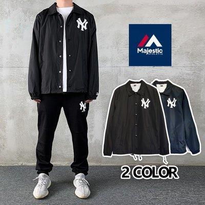 Cover Taiwan 官方直營 Majestic NY 洋基隊 教練外套 MLB 大聯盟 黑色 藍色 藏青 (預購)