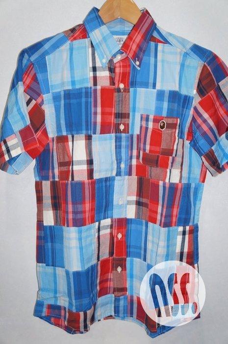 特價「NSS』A BATHING APE Bape Check Patchwork Shirt 格紋 拼接 短袖 襯衫