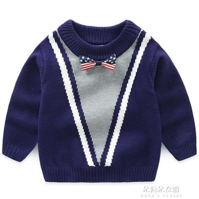 兒童毛衣男童毛衣秋新款兒童毛衣高彈力毛線衣 男寶寶領結毛衣