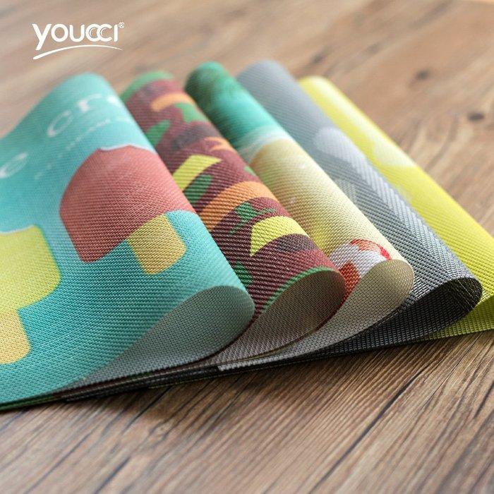 家用酒店西餐廳餐墊 創意PVC個性印花隔熱桌墊子
