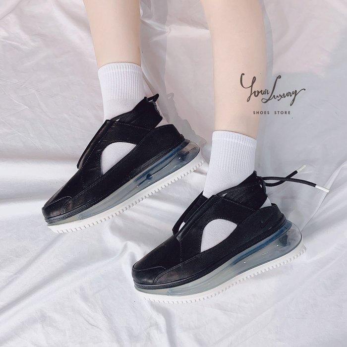【Luxury】Nike Air Max FF720 氣墊涼鞋 舒適厚底 黑白 女鞋 簍空設計 繫帶 韓國代購 正品