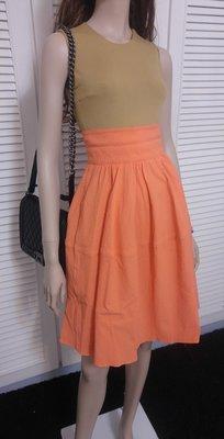 36碼 CARVEN 駝X橘 拼接洋裝