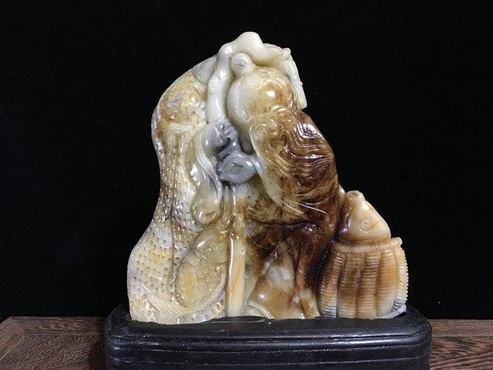 *藏雅軒*早期收藏-壽山石雕芙蓉凍石擺件-漁翁得利系列-24