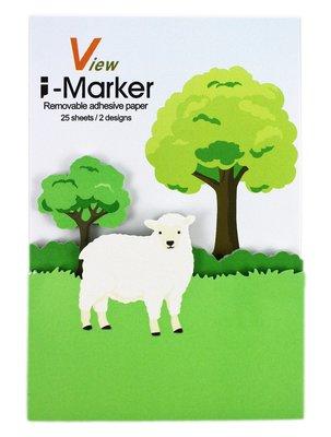 【卡漫迷】 I-Marker 便利貼 棉羊 ~ 白羊 樹 造型 便條紙 Memo 貼 辦公室 創意 趣味 N次貼 留言貼