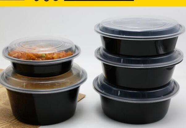 888利是鋪-Y450/700/900美式圓形黑色一次性餐盒意面打包盒外賣盒沙拉碗整箱#一次性餐盒