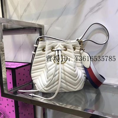 【Amy】二手Gucci  古馳水桶 Marmont Quilted Leather Bucket 水桶 476674