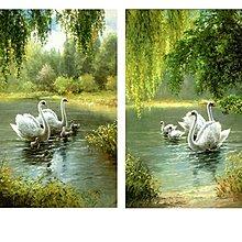 歐式簡裝裝飾畫畫心畫布溫馨天鵝湖油畫風格客廳臥室風景畫
