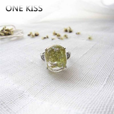 ONE KISS 港風指環學生情侶食指定情信物綠幽靈水晶新款戒指女轉運招財YA040628