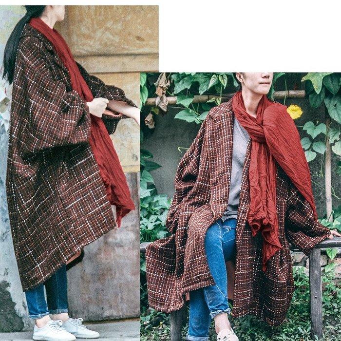 【子芸芳】原創設計 復古羊毛呢長款加厚紐扣呢子外套大衣