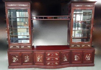 全新庫存家具買賣 二手家具買賣推薦 新竹地區免運 RW0529高級花梨木電視櫃*櫥櫃 收納櫃 高低置物櫃 餐桌