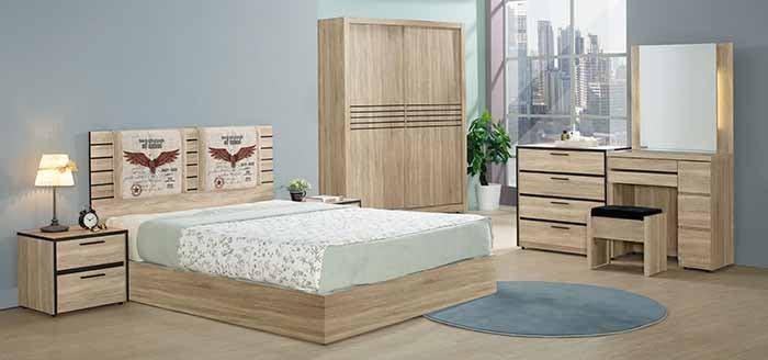 【DH】貨號N047A名稱《治喬》5尺木心板床套組(圖一)床檯+床頭櫃*1+鏡台組+5尺推門衣櫃