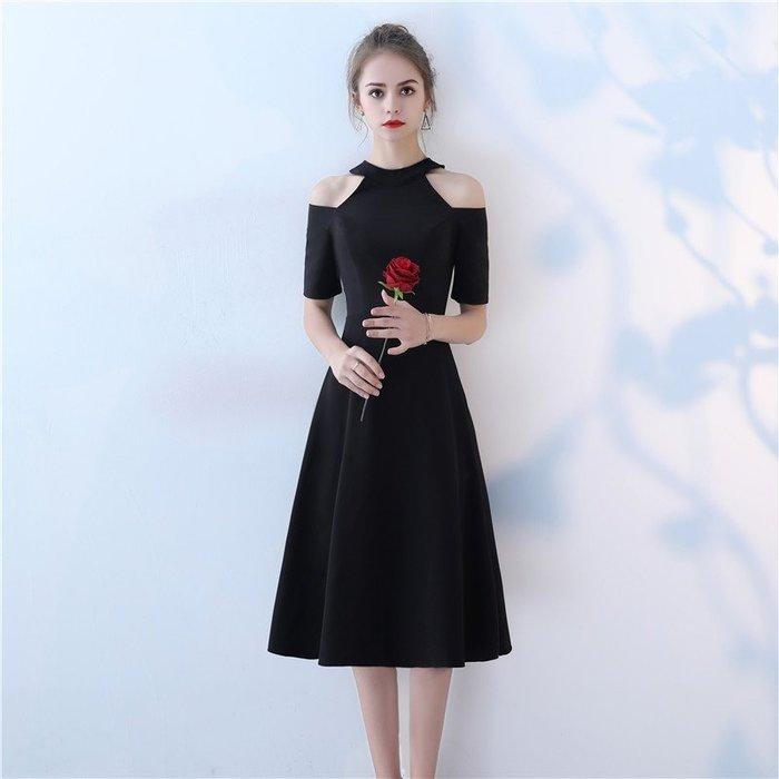 宴會晚禮服 新款高貴優雅黑色中長款一字肩派對小禮服 大碼連身裙—莎芭