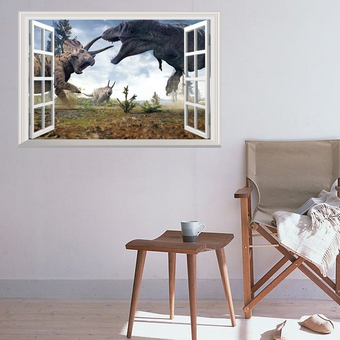 暖暖本舖 恐龍PK大戰 假窗戶 假牆壁貼 簡易裝潢貼 創意裝飾貼 藝術牆壁貼 書櫃壁貼紙 防水壁貼 裝潢貼紙 DIY壁貼