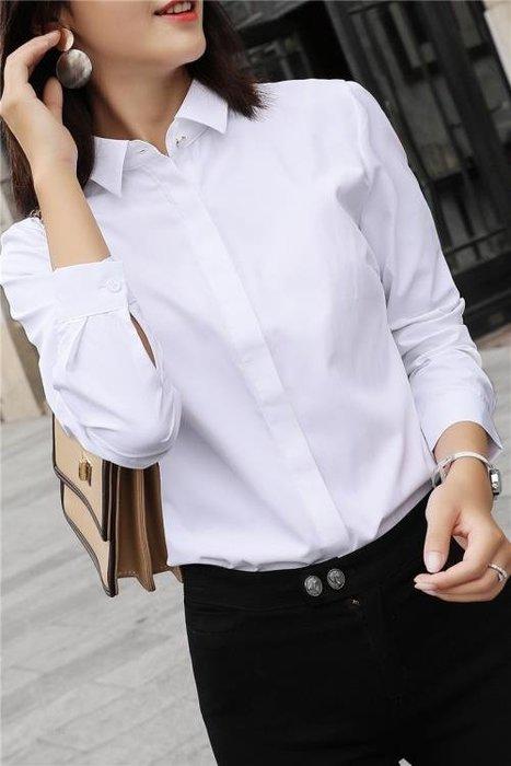 白襯衫女長袖工作服襯衣寬鬆顯瘦韓版秋季