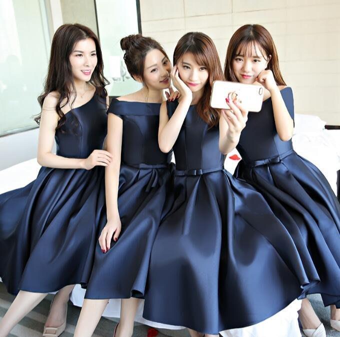 晚禮服 新款伴娘服中長款姐妹裙伴娘團藏青色宴會禮服年會連身裙 洋裝—莎芭