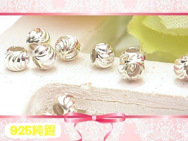 【EW】925純銀DIY材料配件/3mm彎月刻面圓珠/西瓜珠-2線款~適合手作串珠/蠶絲蠟線