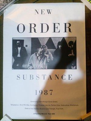 NEW ORDER 1987年首張精選輯 Substance海報 90X64cm 張貼過背面有膠帶痕 正面良好