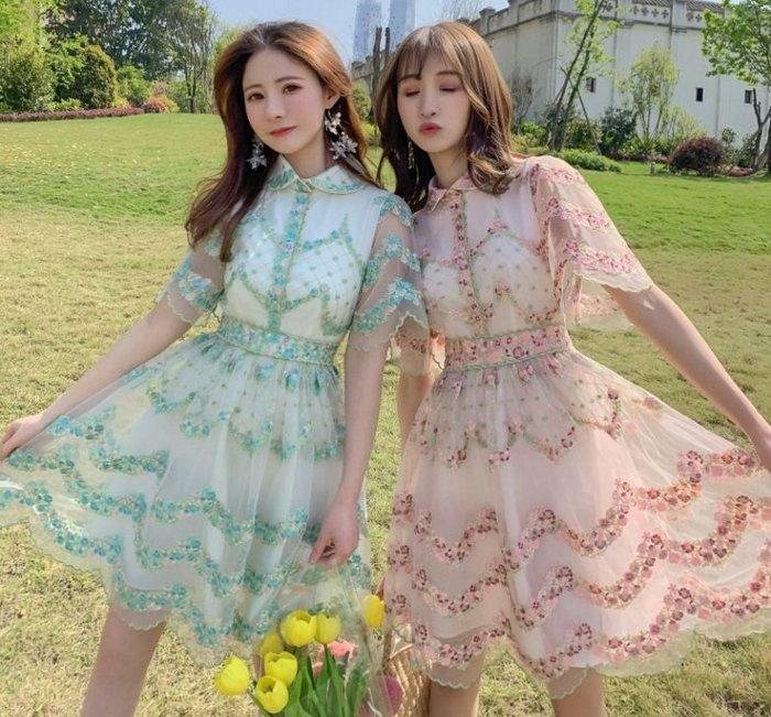 短袖洋裝粉紅色/薄荷綠歐根紗刺繡花邊短袖洋裝許願魔鏡@wishing Mirror-*- BT21118