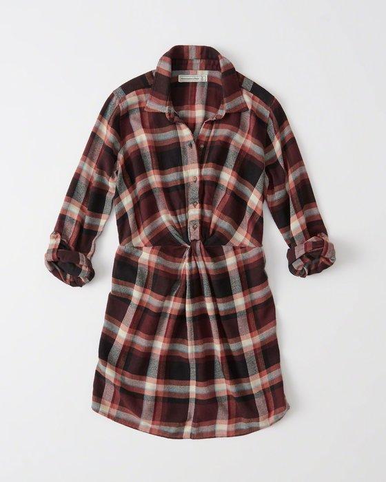 【天普小棧】A&F Abercrombie&Fitch Print Plaid Shirtdress七分長袖格紋襯衫洋裝