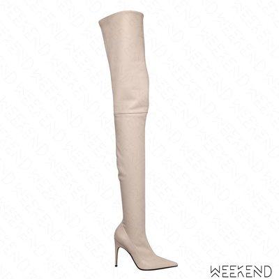 【WEEKEND】 SERGIO ROSSI 尖頭 高跟 羊皮 過膝靴 素面 灰白色 17秋冬新款