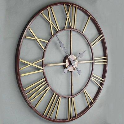 歐式酒吧藝術客廳壁掛鐘現代創意簡約復古羅馬圓形大時鐘