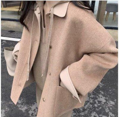 [姜姜go]🐳 韓版加厚寬鬆短款毛呢外套