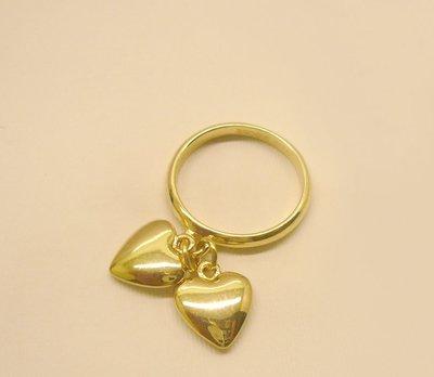 ☆青兒小公主☆MARC JACOBS Gold Dangle Heart Ring 雙心戒指